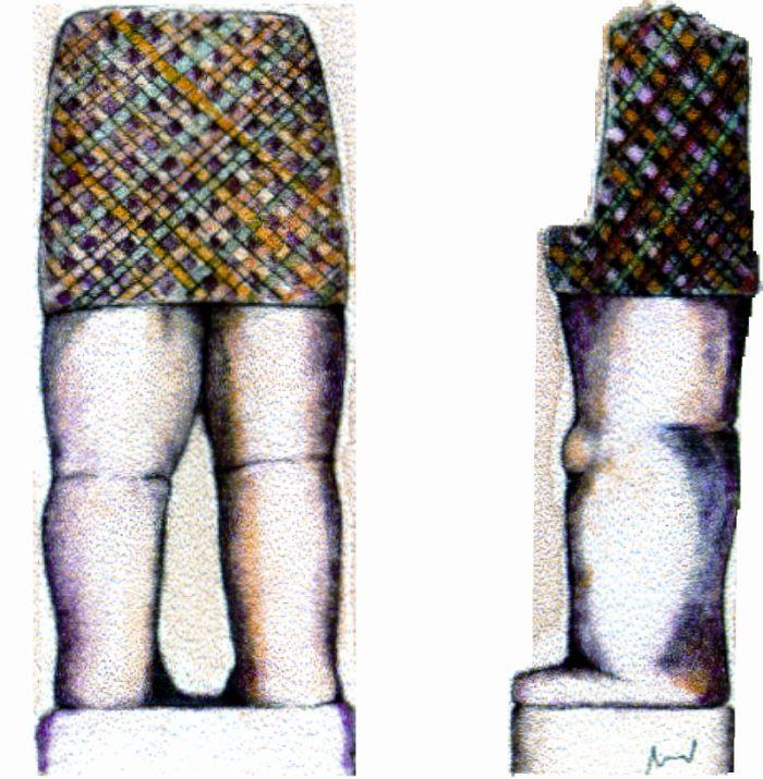 Saia com tartã na estatua do Principe Galaico do Castro de Mozinho, Penafiel, século III a.C. Reprodução a cores por André Pena.