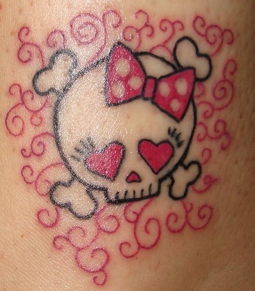 skull girly tattoo | Girly Skull and Squiggles