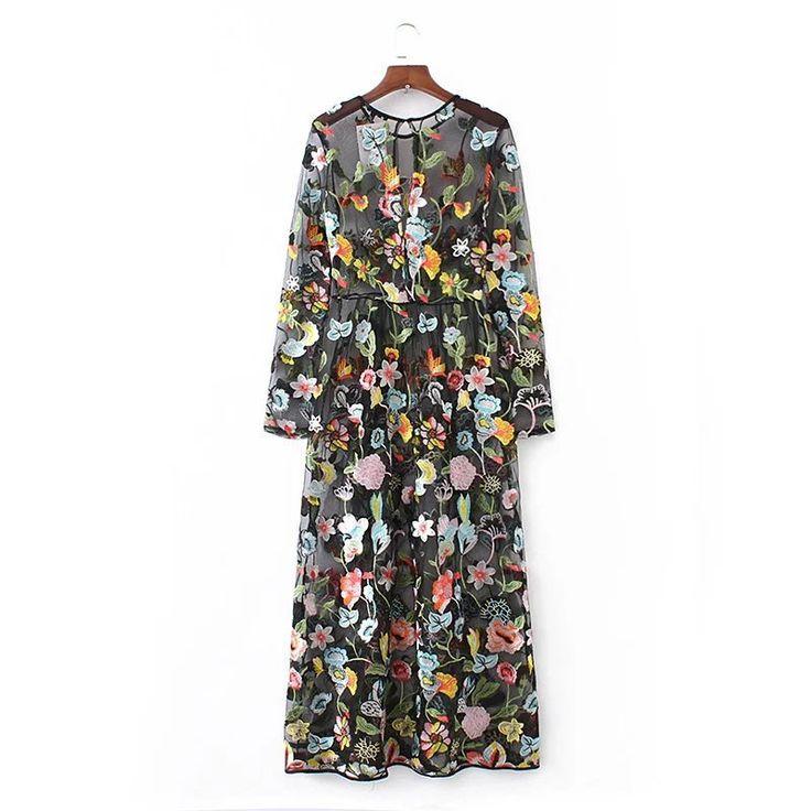 Vestidos de fiesta 2017 primavera verão mulheres novas moda see through sexy fio de malha bordado floral longo maxi preto dress em Vestidos de Das mulheres Roupas & Acessórios no AliExpress.com | Alibaba Group