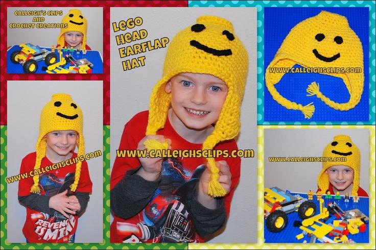Calleigh's Clips & Crochet Creations: Lego Head Earflap Hat - FREE Crochet Pattern
