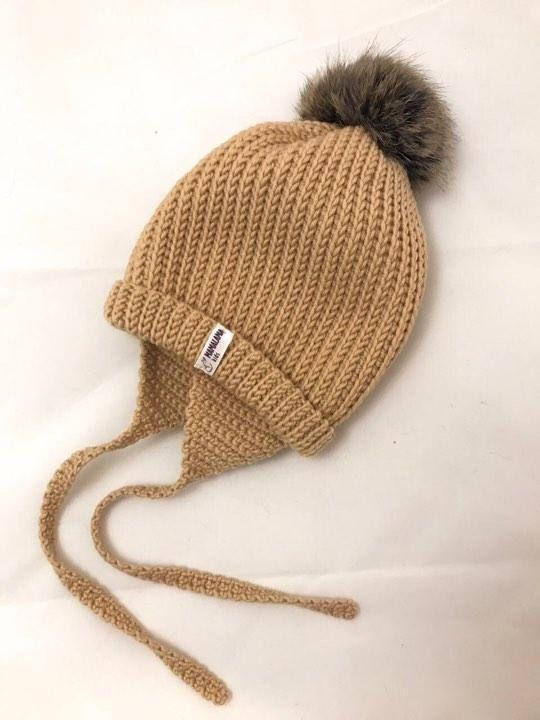 e4077e59785 Beige Merino wool baby hat Baby hat earflaps Preemie hats