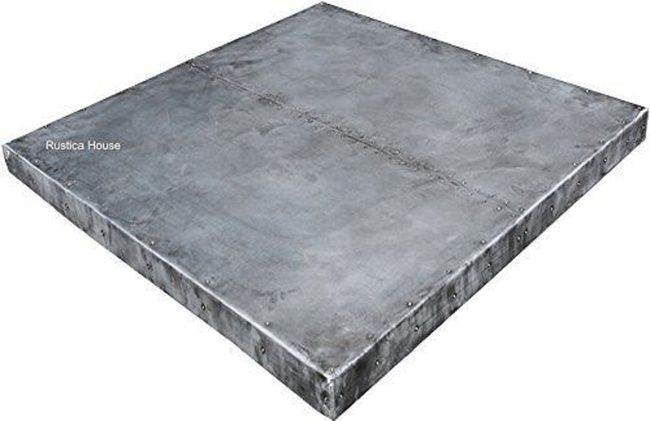 Hammered and smooth surface #myrustica square #zinc #table-top by #RusticaHouse.