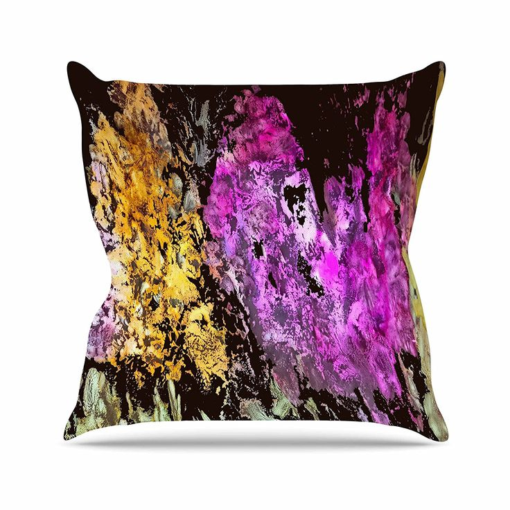KESS InHouse RB1064AOP03 18 x 18-Inch 'Rosie Brown Garden Glows Gold Purple' Outdoor Throw Cushion - Multi-Colour -- You can get additional details at the image link. #GardenFurnitureandAccessories