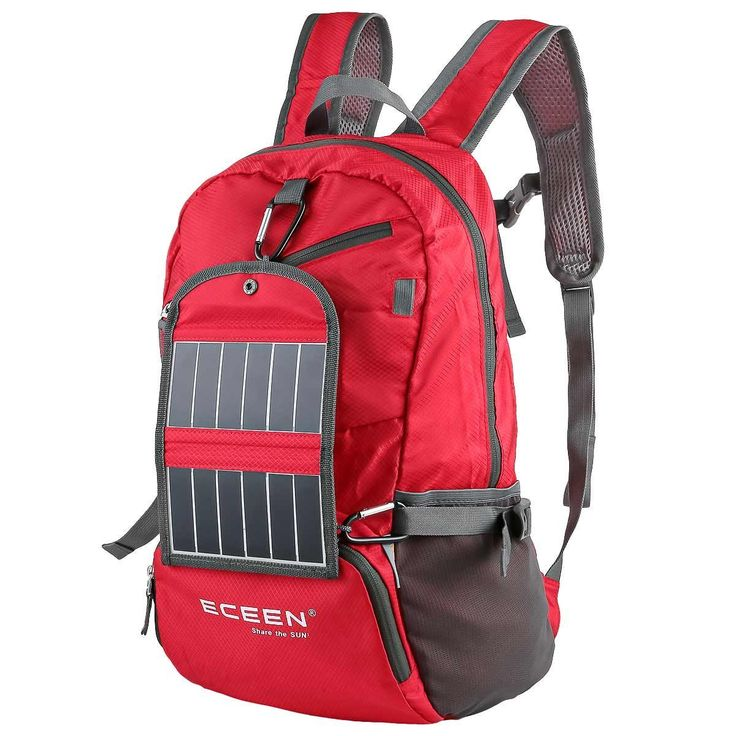 Amazon.com : ECEEN® Solar Powered Hiking Daypacks - Foldable Backpack with 3.25 Watts Solar Charger - Small, Lightweight, Water Resistant, Unisex, Folds Up into Carry Pouch - Power Cell Phones and More : Sports & Outdoors