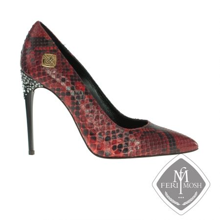 FERI MOSH - Violetta - Stilettos Price                                  $2,946 Canadian Dollars Product #                           FMLS-5314 Product Category              FERI MOSH Opulence Wear - Ruby red genuine python stiletto heel - Full genuine python skin upper - Lined with nappa leather - Features rhinestone encrusted heel - Real leather sole  - Metal plate with FERI MOSH logo on the outer side of both shoes - FERI MOSH logo embossed inside - Heel height: 4.5 inches - Made in Italy…