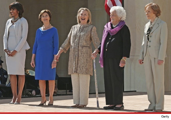 The First Ladies - First Lady Michelle Obama wrangled up former First Ladies Laura Bush, Hillary Clinton, Barbara Bush and Rosalynn Carter at opening of the George W. Bush Presidential Library in Dallas on Thursday.