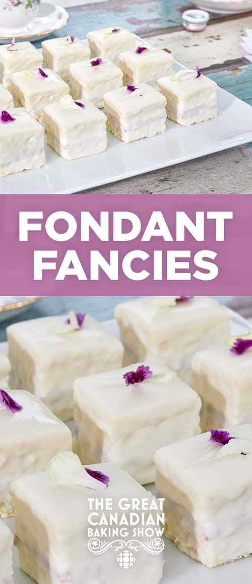 Fondant fancies are light square sponges covered in buttercream, then encased in and decorated with fondant.