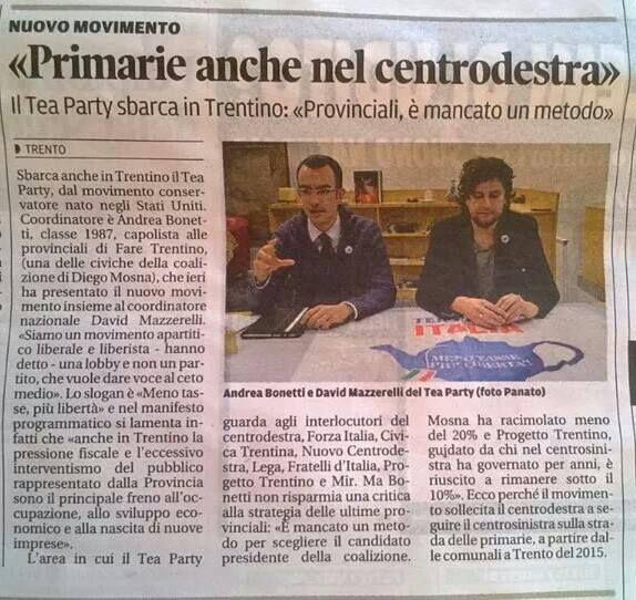 """""""Primarie anche nel Centrodestra"""" -  (Il Trentino - 12 gennaio 2014)"""