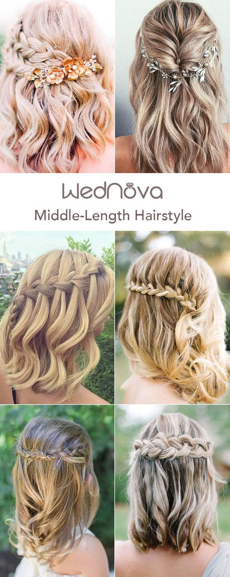 48 Easy Wedding Hairstyles Best Guide For Your Bridesmaids In 2019 Short Wedding Hair Half Up Half Down Short Hair Bridesmaid Hair Medium Length