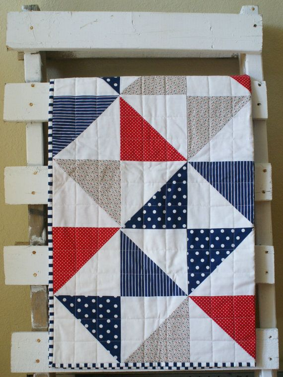 Red White Blue Cot Quilt Pinwheel Nautical by TelltaleThread