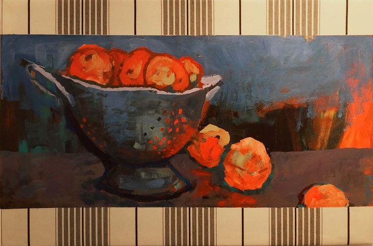 "Alma's Colander"" 2015. Judy Constable. Acrylic on Awning Canvas."
