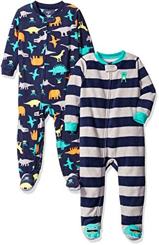 Carter's Boys' Toddler 2-Pack Fleece Pajamas, Dino/Stripe, 4T Baby Boy Clothes
