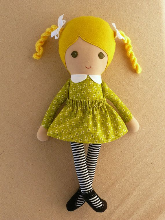 Fabric Doll Rag Doll Blond Haired Girl in Green by rovingovine, $37.00