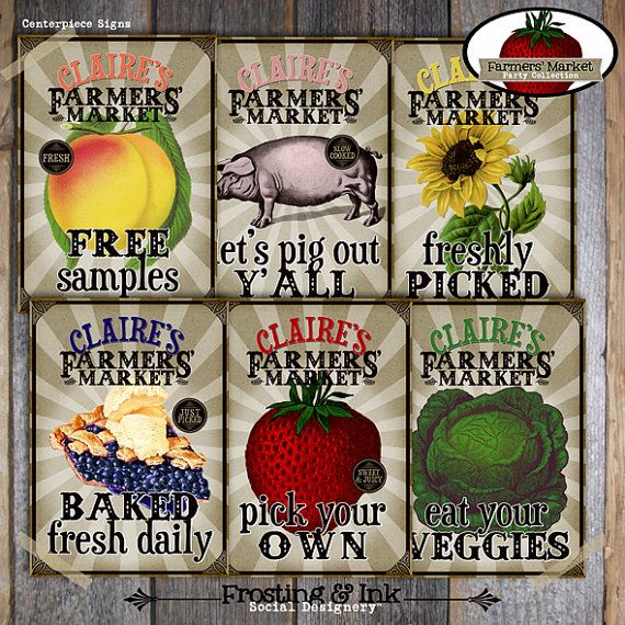 Farmers  39  Market Party   Garden Birthday Shower   Station Signs   Printable  Farm Fresh  Strawberry  BBQ  Picnic  Seed Packet  Poster