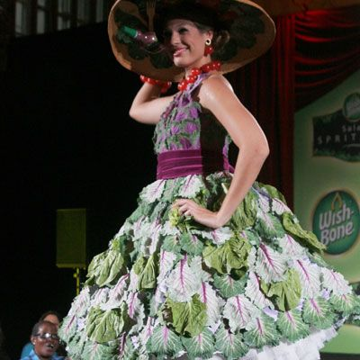 """Chris March's Slimming Salad Dress  Creator: Season 4 """"Project Runway"""" finalist Chris March  Delicious Details: A couture, one-of-kind dress made from just $50 worth of lettuce? If anyone can do it, it's outrageous costume designer Chris March. The dress, among others, was personally requested by Wish-Bone to promote its line of spray-bottle salad dressings."""