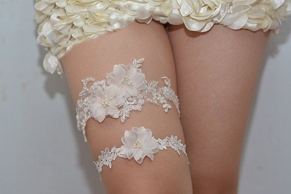 bridal garter, wedding garter, bride garter ,off-white lace garter,, beaded floral garter,light pink flower garter  A set,Two garters.  This amazing