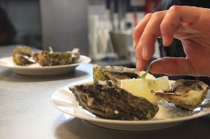 Préparation des huîtres dans les cuisines du restaurant ! ---> Les huîtres se dégustent natures tout simplement, ou accompagnées de pain de seigle, de pain de campagne ou complet éventuellement beurré, d'un zeste de citron, d'une sauce vinaigrée ou d'un simple tour de moulin à poivre… Bonne dégustation !  #restaurant #benodet #escapades #finistere #bretagne #huitres #produitsdelamer #citron #degustation #unregal