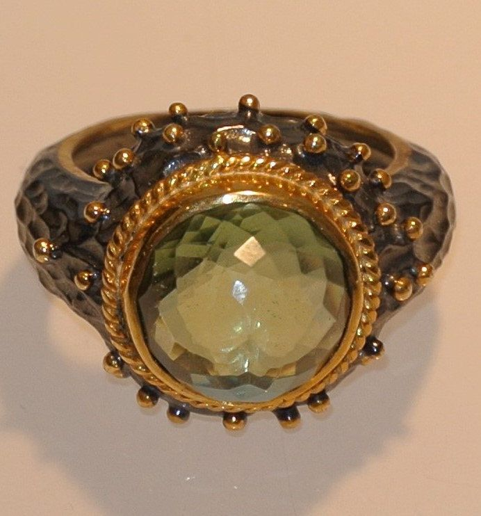 byzantine / ancient style ring 925 stering silver handmade green amethyst gift size7 by NelitaCollection on Etsy