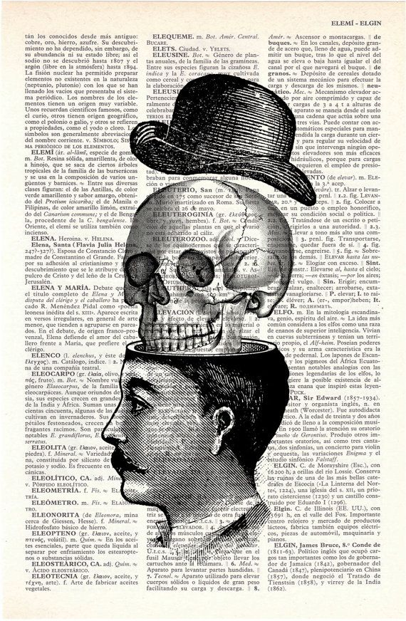 * Victorian Man and Skull with Hat Collage Print  ~ by PRRINT *