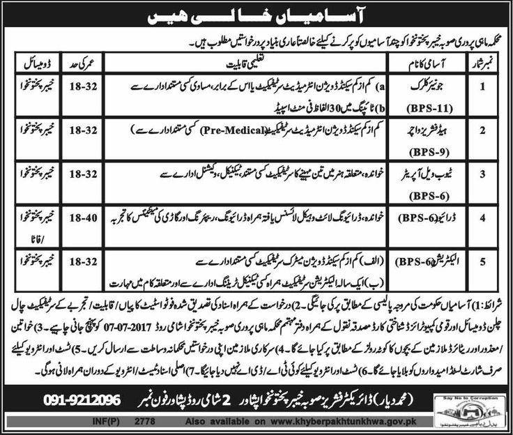 Jobs in Fisheries Department KPK for Junior Clerk & Others