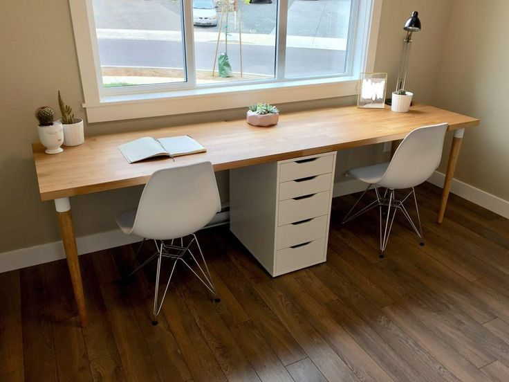 Finished Our 98 Karlby Counter Top Desk Pretty Happy With The Results Ikeahacks Ikea Desk Hack Home Office Design Desk Design