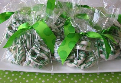 St. Patrick's Day party favors and table decor