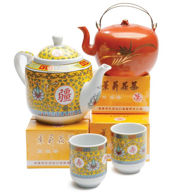Asian Tableware - Antique Japanese teapot, Finds on Broadway; yellow dragon teapot and teacups at United Noodles