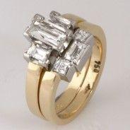 Wedding ring set ladies 18ct yellow gold and palladium 'Tycoon' cut diamond