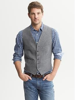 Love this and I am ready for fall. Herringbone Cotton Vest at Bananarepublic.com.