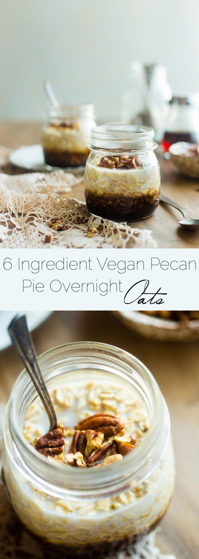 6 Ingredient Vegan Pecan Pie Overnight Oats - These healthy overnight oats taste like pecan pie! They're a 10 minute, gluten free make-ahead breakfast with only 6 ingredients that tastes like dessert!   Foodfaithfitness.com   @FoodFaithFit