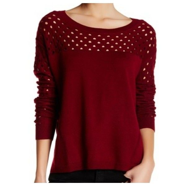 NEW THE KOOPLES Merino Wool,Open Knit Sweater Sz 2 ❤ liked on Polyvore featuring tops, sweaters, maroon sweater, crew neck sweaters, long sleeve sweater, crew-neck sweaters and red pullover sweater
