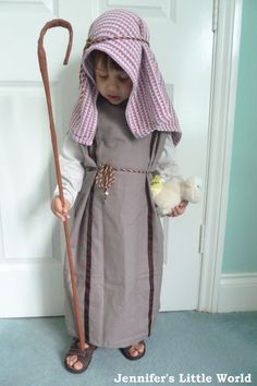 Homemade Nativity Shepherd costume from a pillowcase   Pillowcase - 98p (£1.96 for two at Asda)  Ribbon - 50p (3 metre remnant)  Velcro 21p for 3 inches  Cord - 80p for 2 metres    Total cost = £2.49 - well under budget!