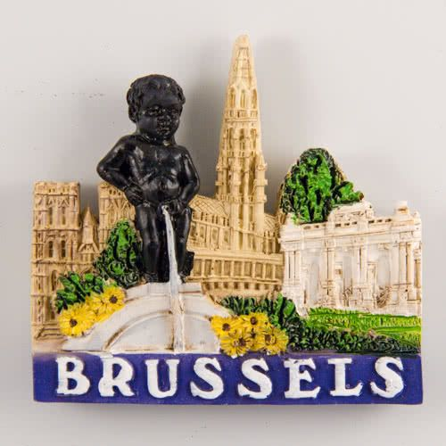 Resin Fridge Magnet: Belgium. Brussels View (Ivory Color)