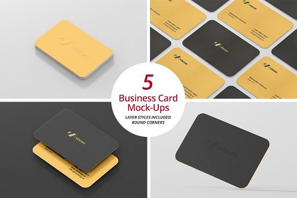 Business Card Mock-Ups Round Corners by Viscon Design on @creativemarket