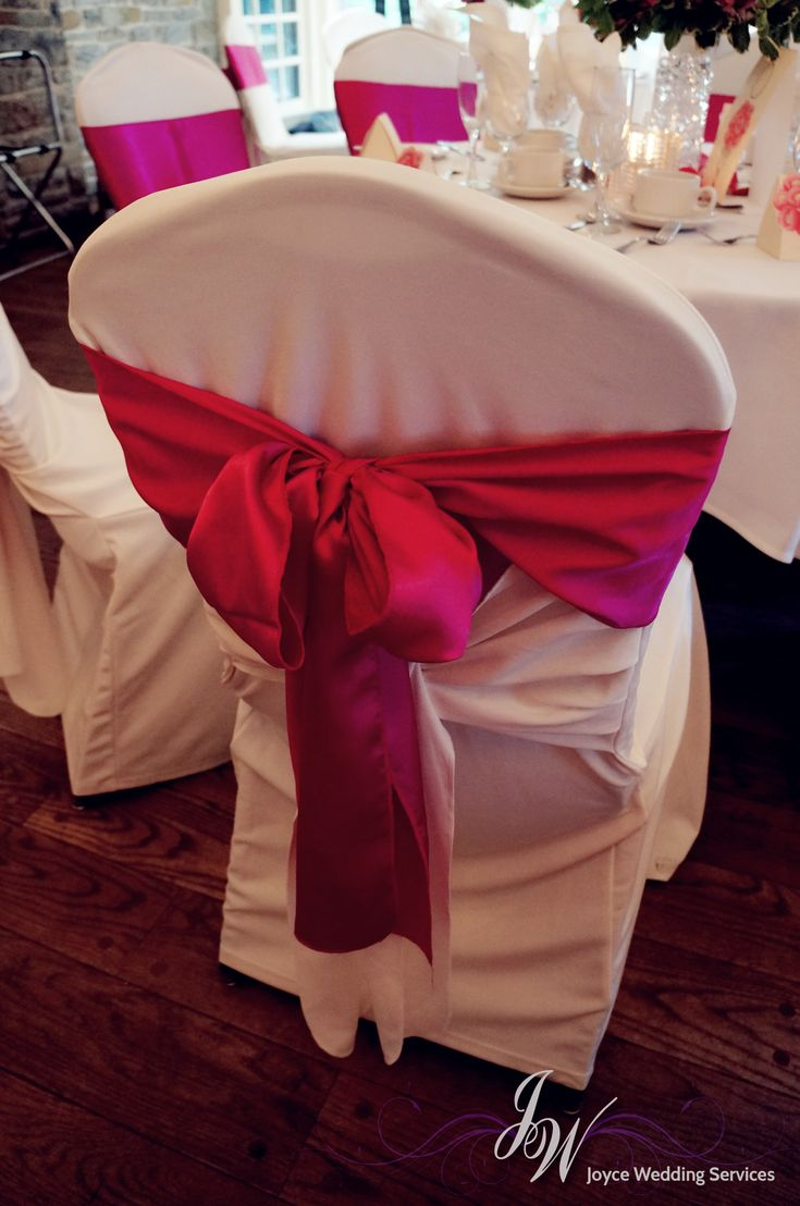 #Hotpink #Ribbon #Chaircover #Wedding #Event #Romantic #White
