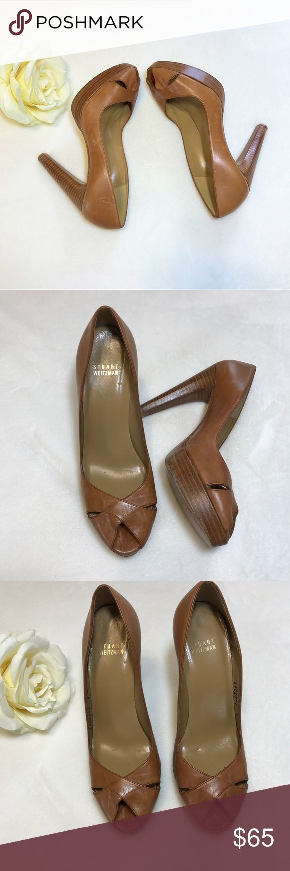 """Stuart Weitzman Brown Leather Peep Toe Heel Sandal Gorgeous pair of leather high heel sandals with peep toe opening. High arch and padded insole. Leather upper and sole.   Size 8 M  Heel Height 4.75"""", with 1"""" platform around toe  Condition Excellent condition preowned. Small marks here and there. No flaws noted. Stuart Weitzman Shoes Heels"""