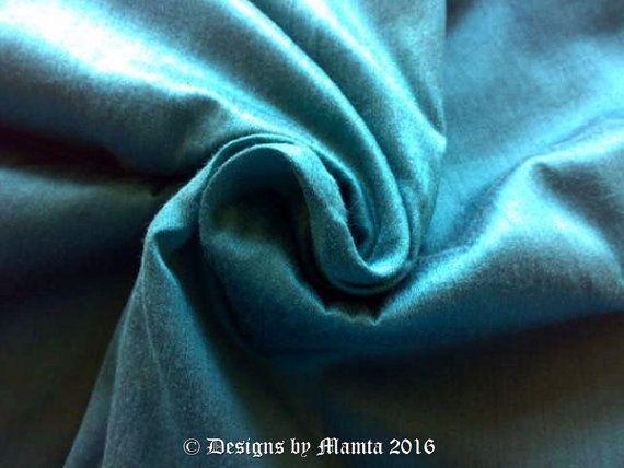 verdigris turquoise dupioni silk fabric fat quarter silk