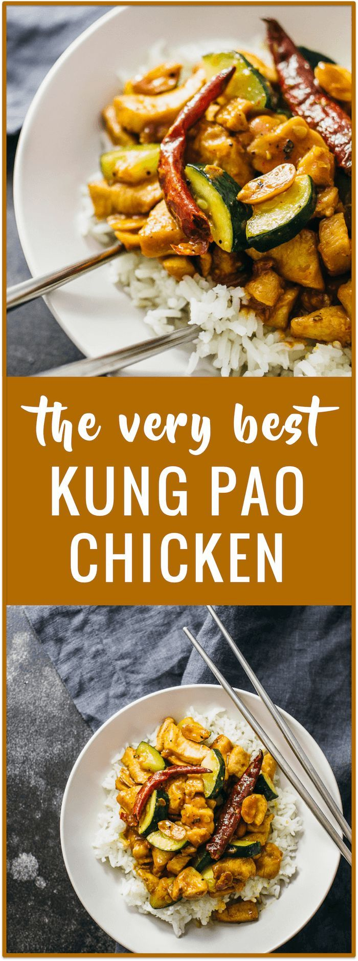 Best authentic kung pao chicken - This is my mom's authentic Chinese recipe for kung pao chicken — spicy saucy chicken with peanuts and zucchini