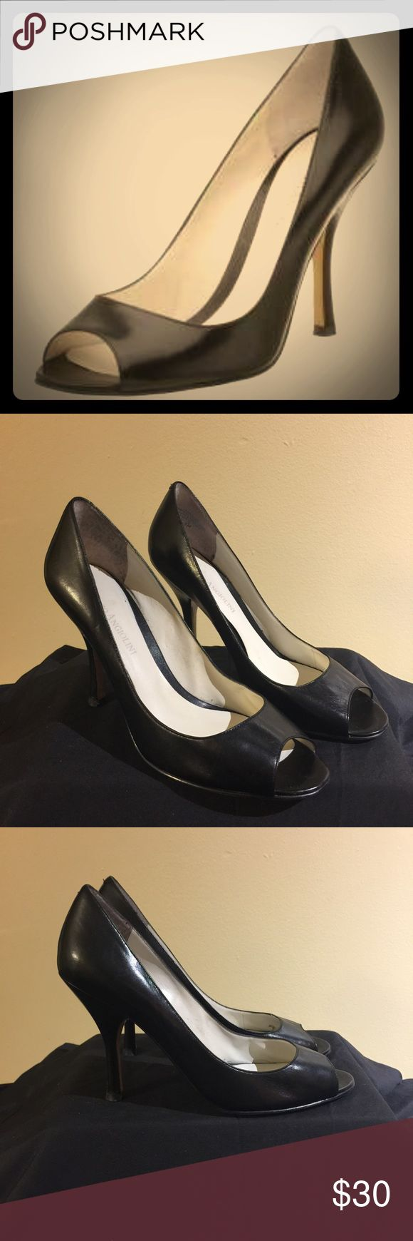 "Enzo Angiolini Black Peep Toe Heels Enzo Angiolini Black Peep Toe Heels, Size 7, 4"" Heel, Leather Upper, Minor Scratches on Heels, most comfortable pair of heels I owned Enzo Angiolini Shoes Heels"