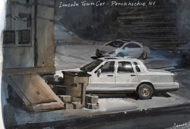"""1,927 Likes, 30 Comments - James Gurney (@jamesgurneyart) on Instagram: """"Lincoln Town Car, casein. Link in bio for more info on casein painting in the wild. #pleinair…"""""""
