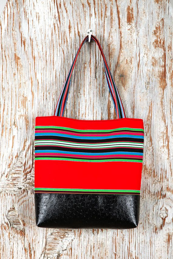 Black Faux Leather Tote Bag with Red Cotton Print - Ostrich look leather