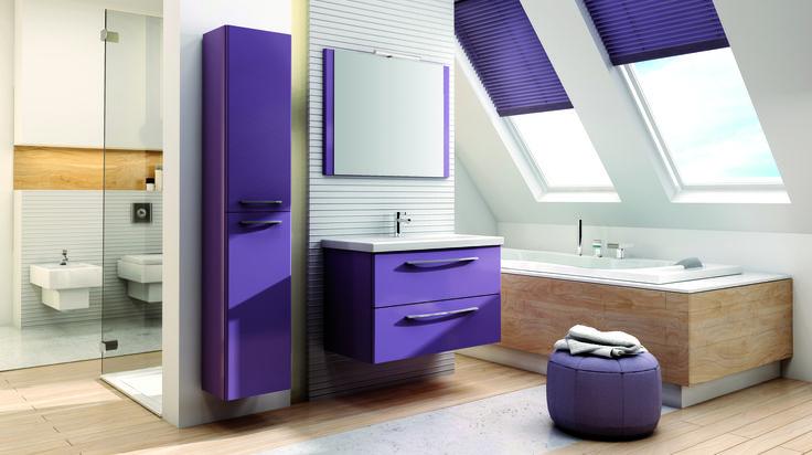 Jump violet mat. #elita #meble #lazienka #jump #bathroom #furniture #colorful #washbasin