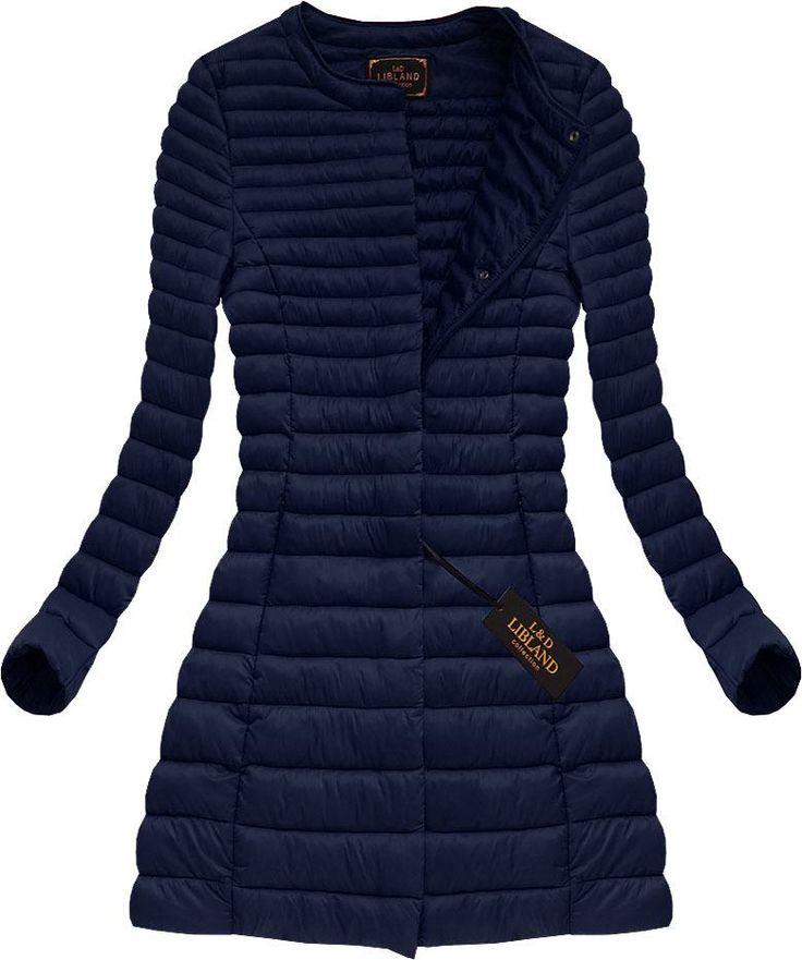 Dlhá dámska prechodná bunda modrá x7148X
