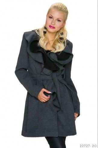 Παλτό με ζώνη και βολάν - Γκρι