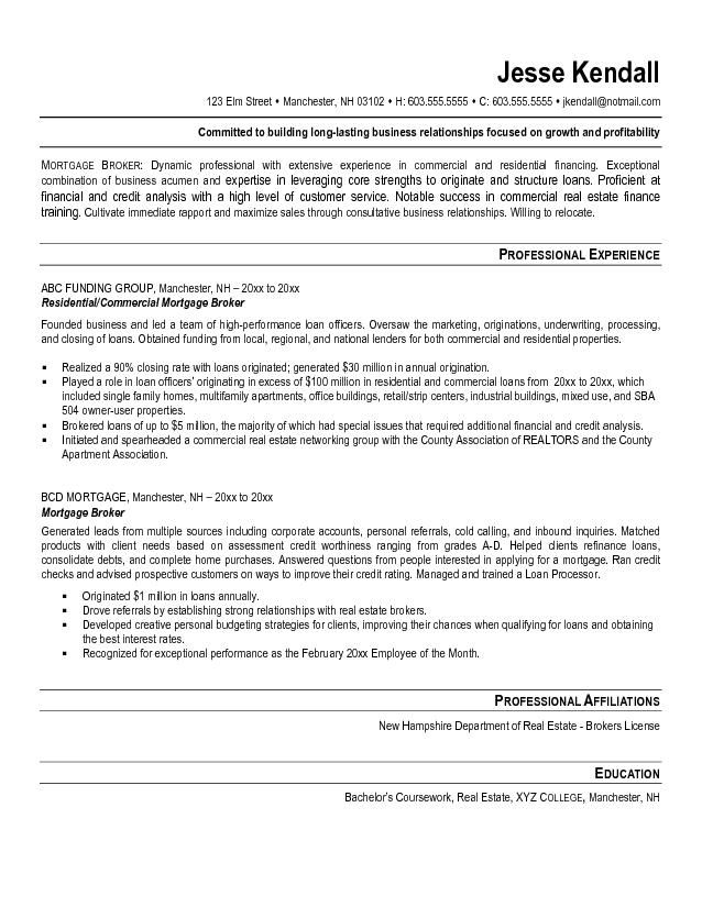 mortgage broker resume example