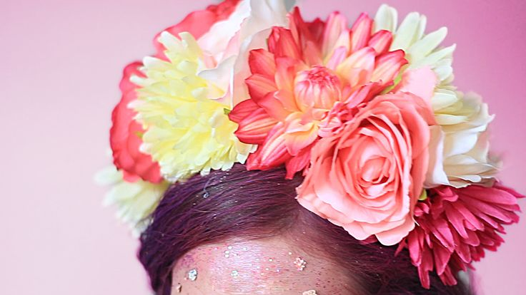 Halloween costume, flowers coronet, pink and white, diy, easy, idea