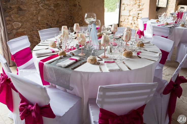 décoration mariage fushia et blanc