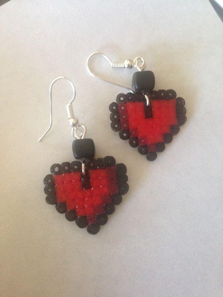 Heart hama earrings