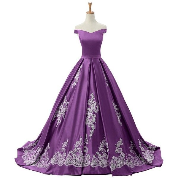 Sunvary 2016 Cap Sleeves Ball Gown Appliques Quinceanera Prom Dresses... ($220) ❤ liked on Polyvore featuring dresses, gowns, applique gown, quinceanera gowns, purple evening dresses, cap sleeve dress and reception gowns