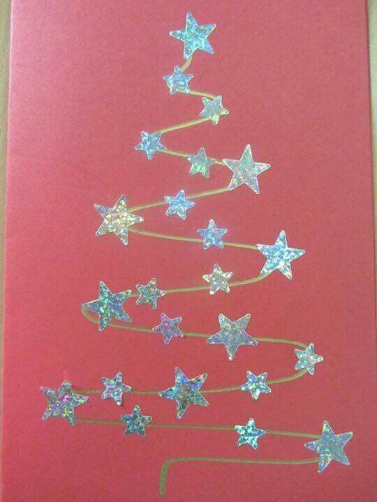 Paint a canvas red, use a lime green puffy paint to make the line tree, then add…